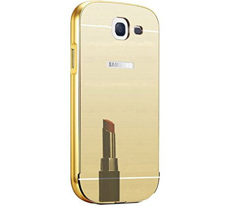 Style Crome Metal Bumper + Acrylic Mirror Back Cover Case For Samsung A710 Gold + Flexible Portable Thumb OK Stand