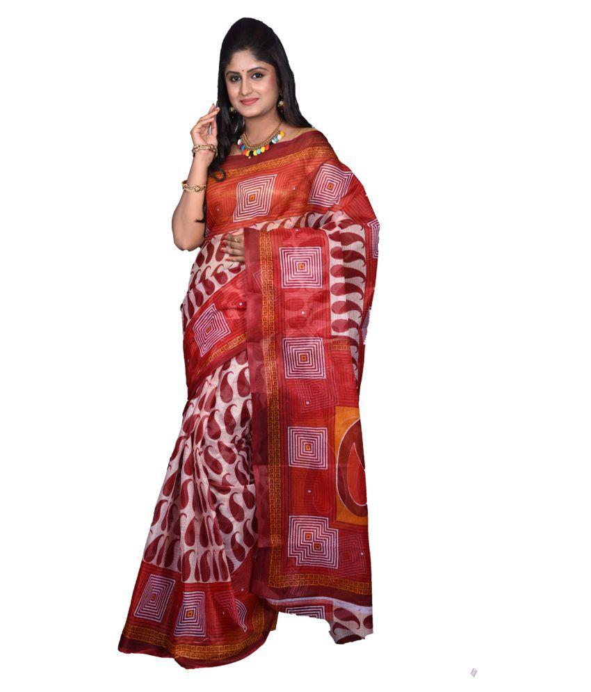 Gajkeshri Multicoloured Kora cotton Saree