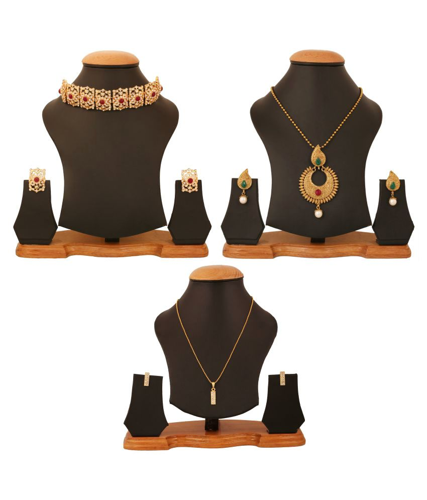 Touchstone Combo of Multicolour Two Necklace Sets and One Pendant Set