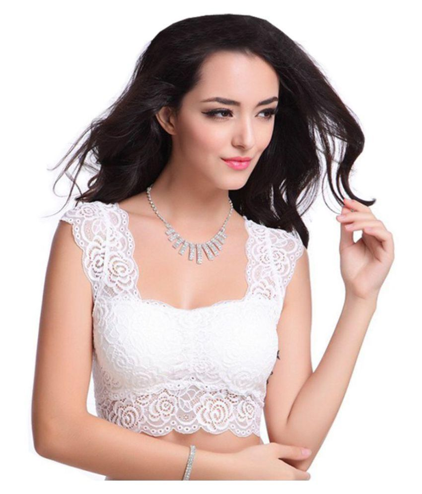 c6a52f7c179524 Buy PrettyCat White Lace Bralette Online at Best Prices in India ...