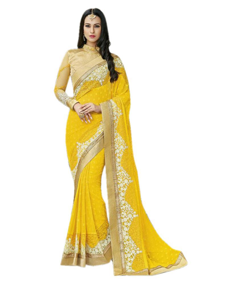 Rejoice Yellow Chiffon Saree