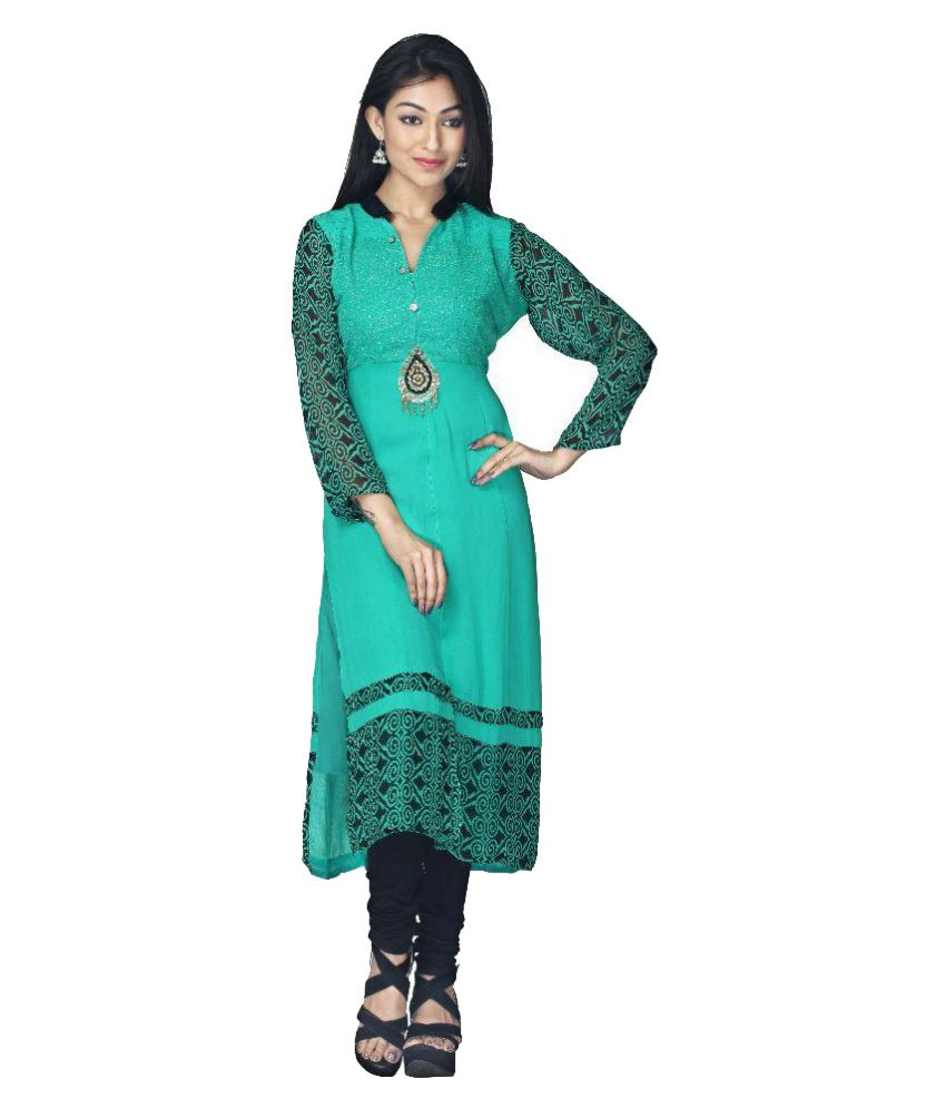 Shree Shakti Creation Turquoise Georgette Straight Kurti