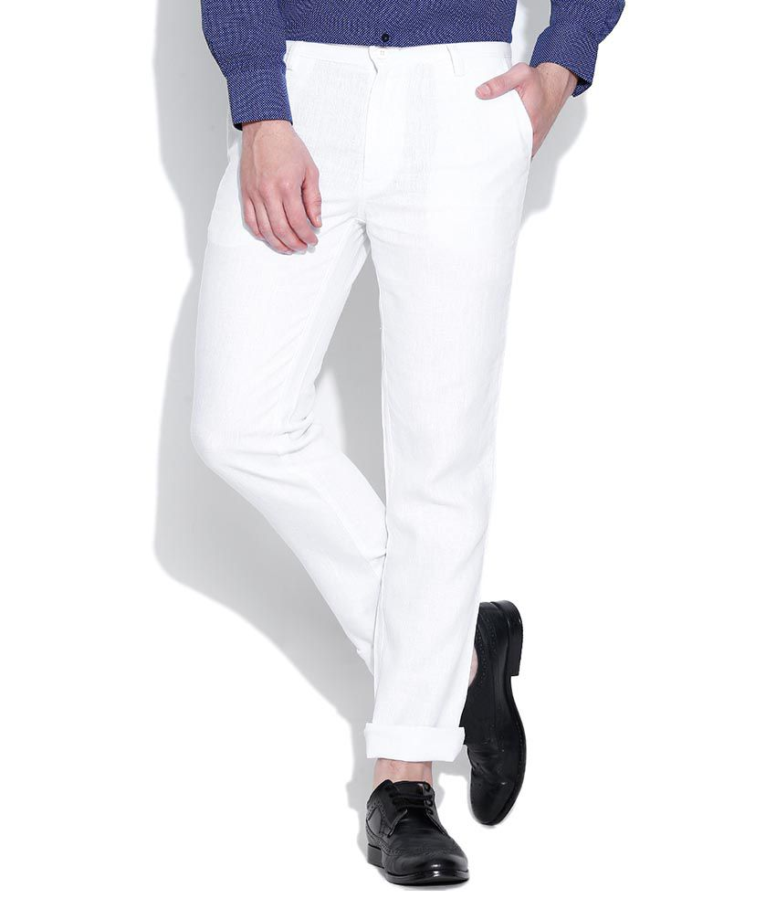 Impressions White Regular Flat Trouser