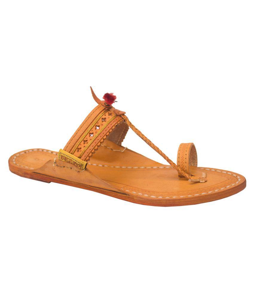 Paytaan Tan Flat Ethnic Footwear