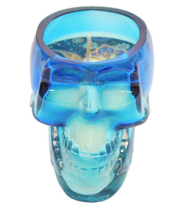 Skycandle Blue Skull Candle