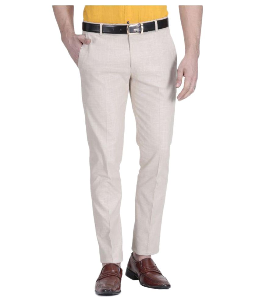 Vandnam Fabrics Beige Regular Pleated Trouser