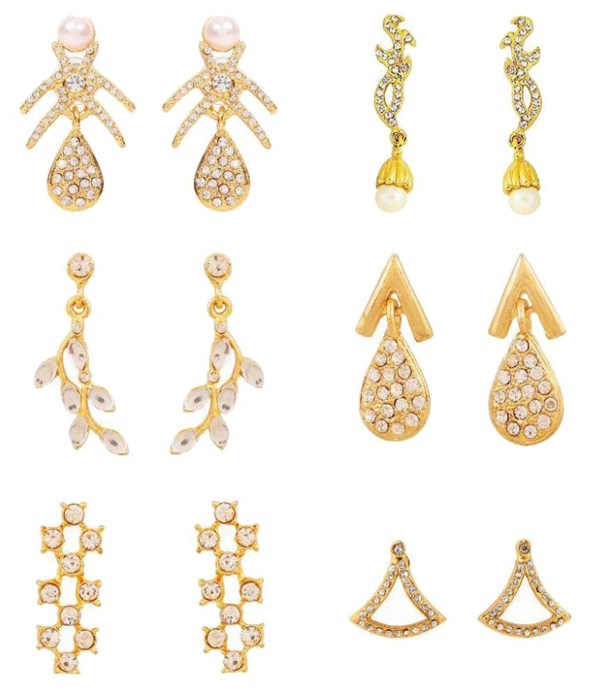 Touchstone Gold Plated Alloy Earrings Combo