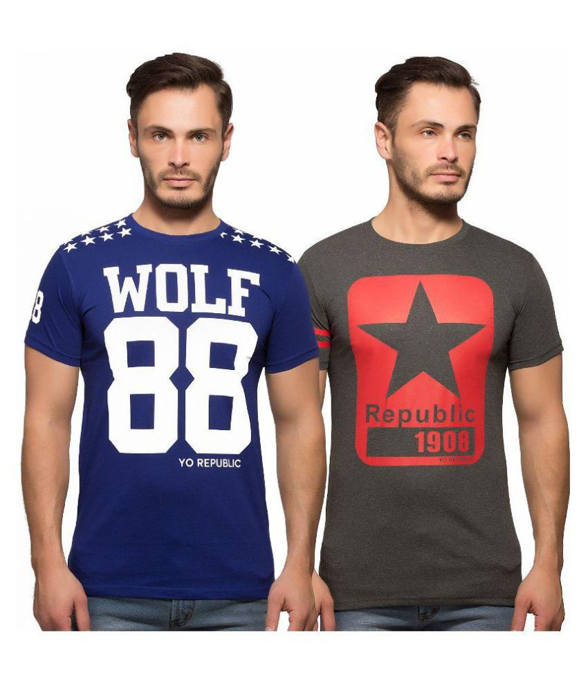 Yo Republic Multi Round T-Shirt Pack of 2