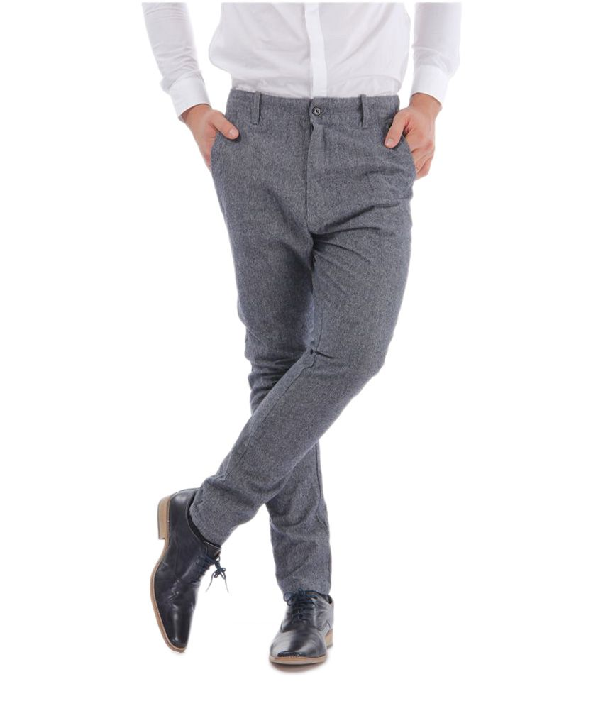 Selected Grey Slim Flat Trouser