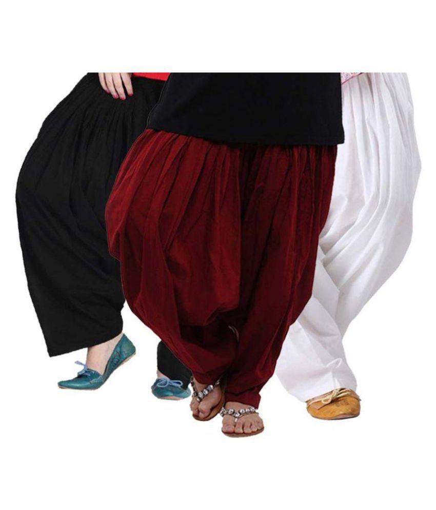 Fashion Arcade Cotton Pack of 3 Semi Patiala Salwar