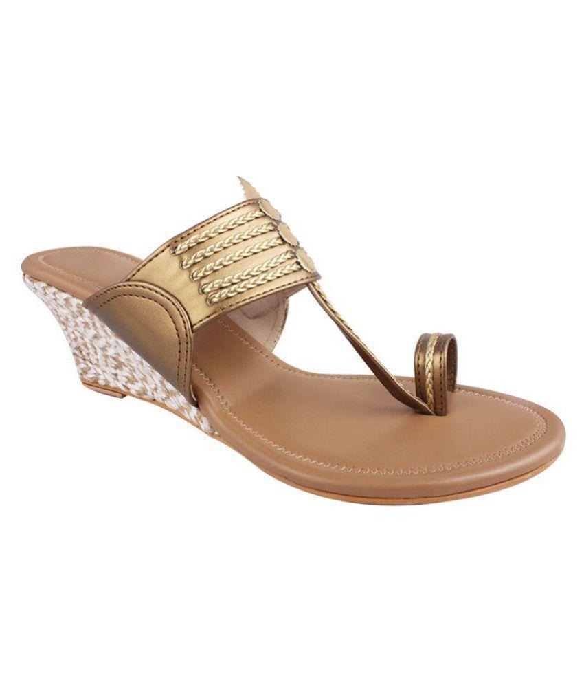 Genera-Tionz Gold Wedges Ethnic Footwear