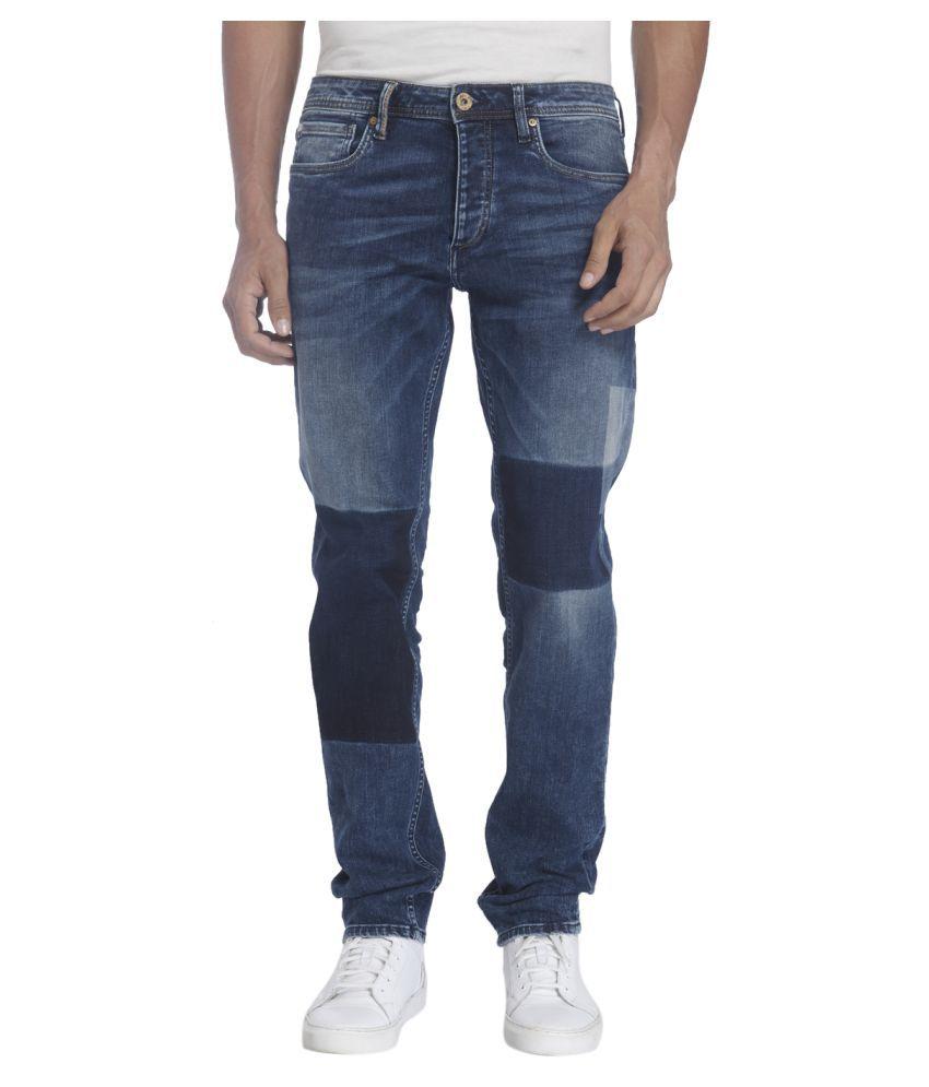 Jack & Jones Blue Regular Fit Solid Jeans