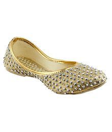 Gingler Gold Flat Ethnic Footwear