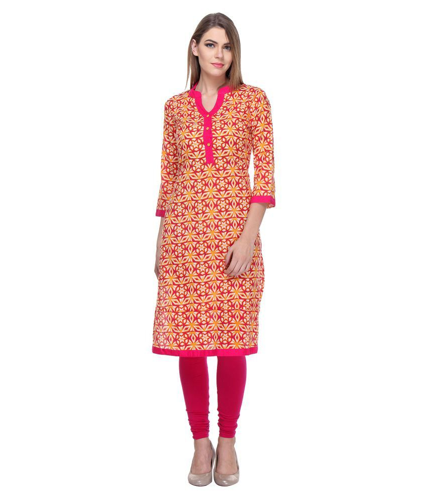 Riti Riwaz Red Cotton Straight Kurti