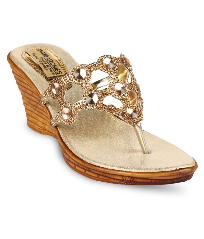 ANAND ARCHIES Gold Wedges Heels