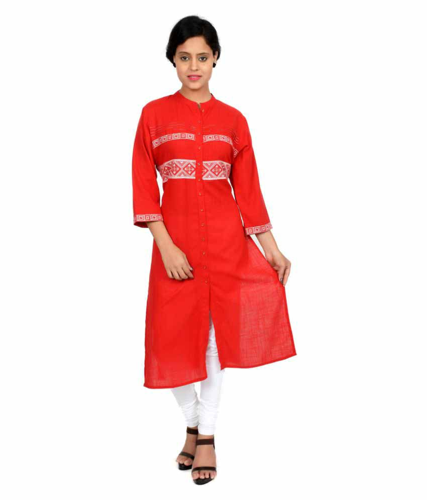 Fagna Creations Red Cotton Shirt style Kurti