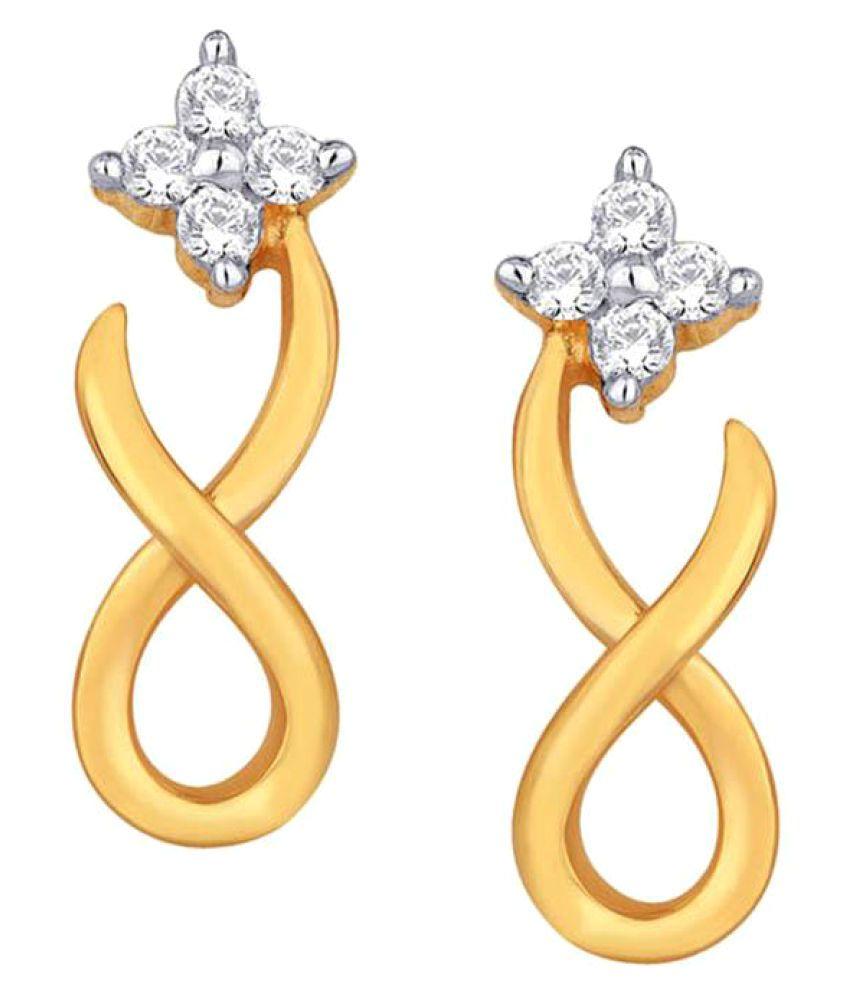 Asmi 18k BIS Hallmarked Yellow Gold Diamond Hangings