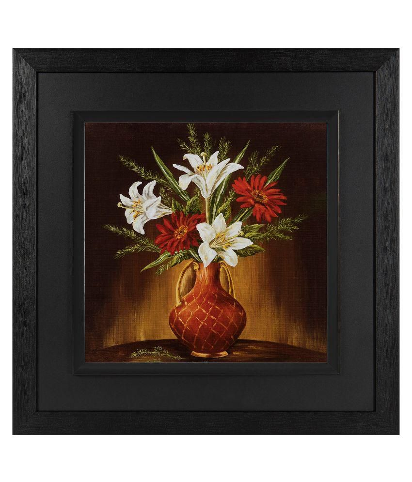 JAF Floral Black and Double  framed painting Wood Art Prints With Frame Single Piece