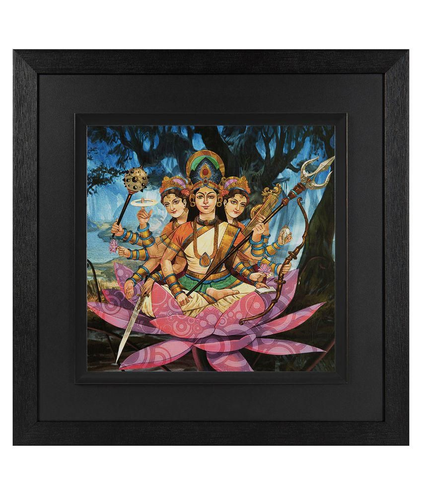 JAF Religious, Goddess durga, Black and Double framed painting Wood Art Prints With Frame Single Piece