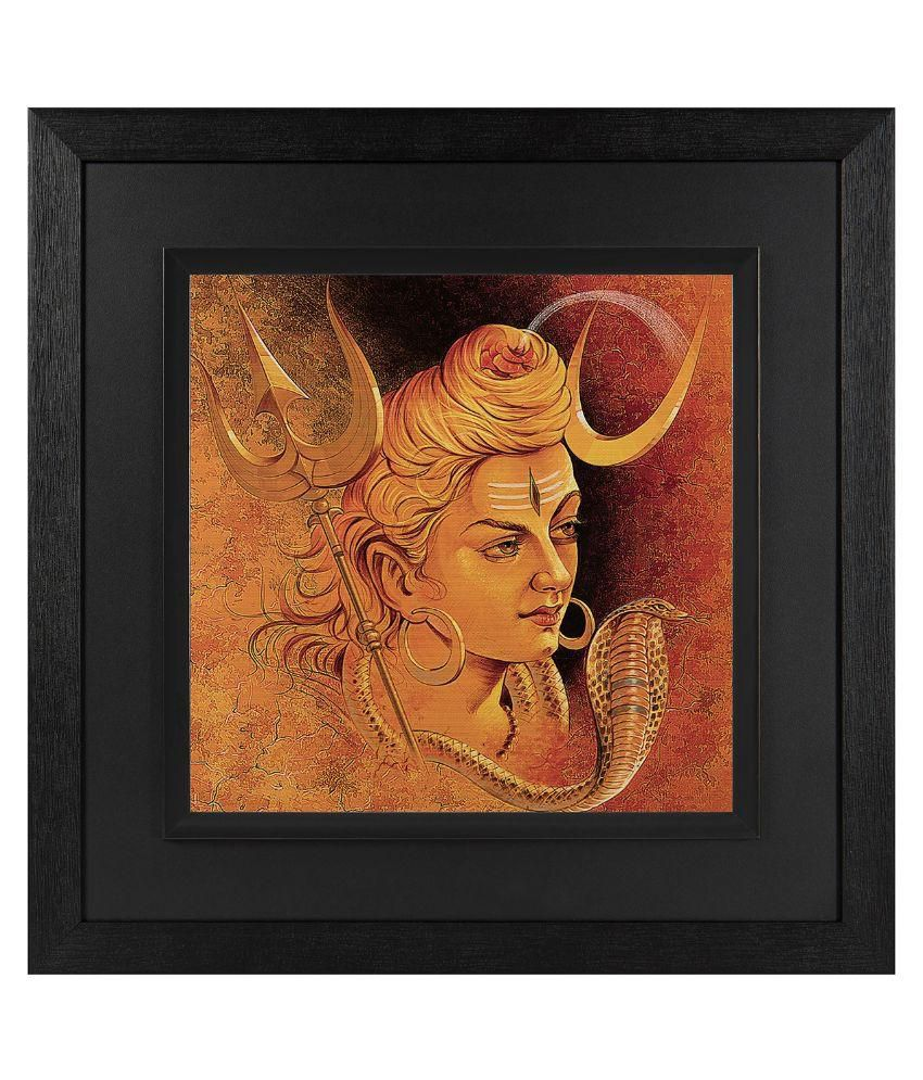 JAF Religious, Lord Shiva , Black and Double framed painting Wood Art Prints With Frame Single Piece