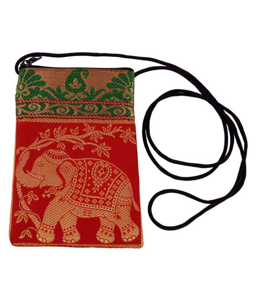 Indisans Red Fabric Sling Bag