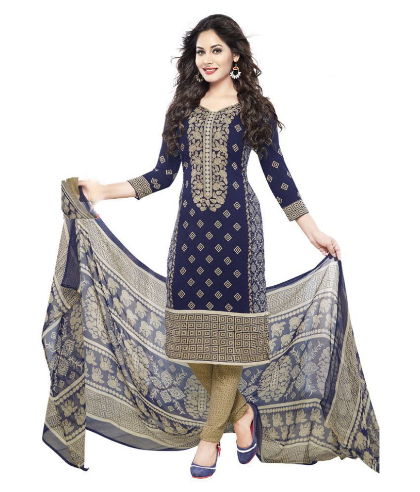 Varsha White and Grey Chiffon Dress Material