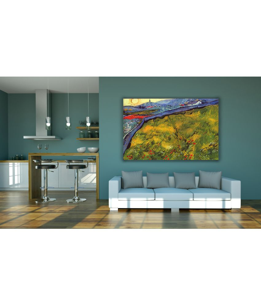 Canvs Enclosed Wheat Field with Rising Sun, May 1889 Wood Art Prints With Frame Single Piece