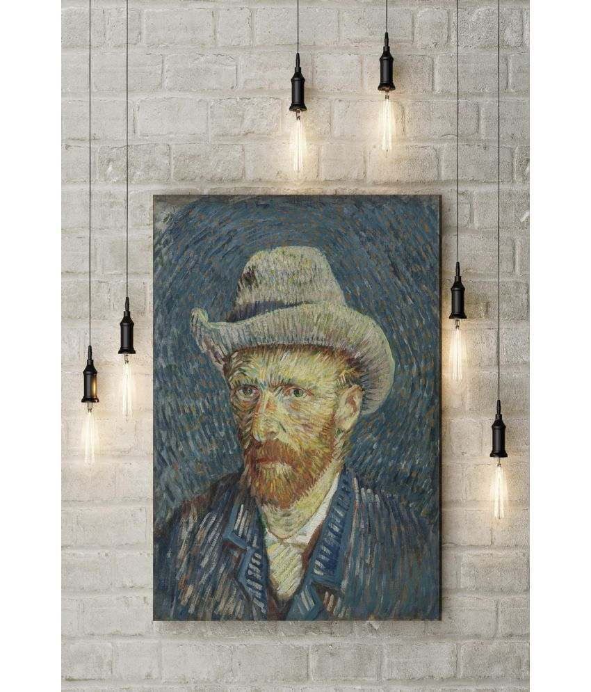 Canvs Self-Portrait with Grey Felt Hat, Winter 1887–88 Wood Art Prints With Frame Single Piece