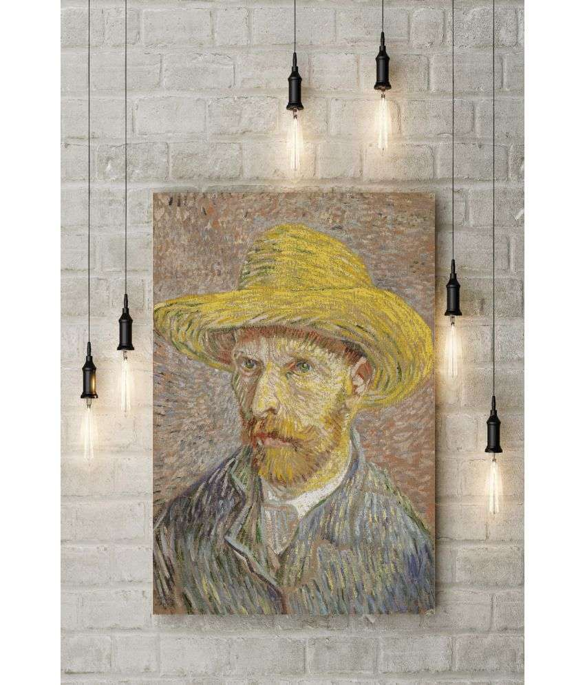 Canvs Self-Portrait with Straw Hat, Paris, Winter 1887–88.  Wood Art Prints With Frame Single Piece