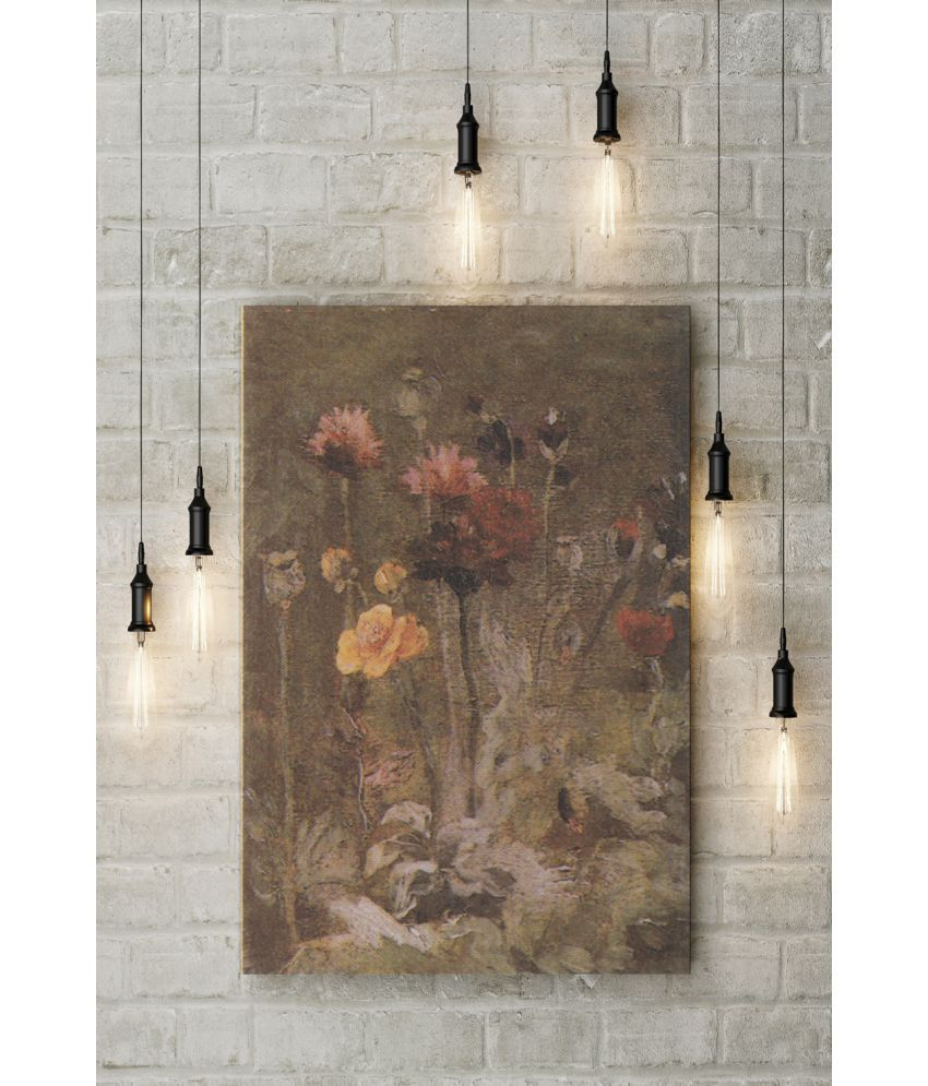 Canvs Still Life with Scabiosa and Ranunculus, 1886 Wood Art Prints With Frame Single Piece