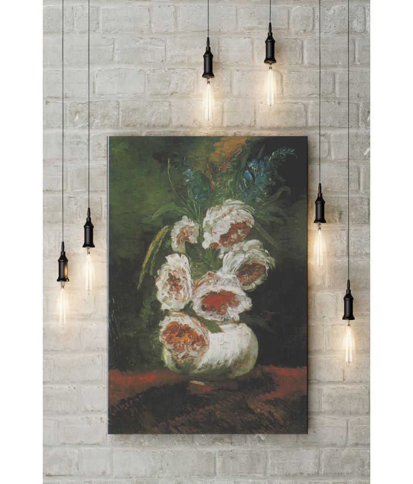 Canvs Vase of Peonies, 1886 Wood Art Prints With Frame Single Piece