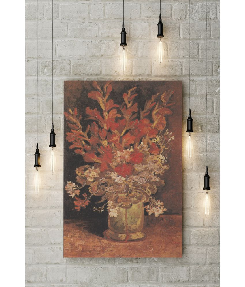 Canvs Vase with Gladioli and Carnations II, 1886 Wood Art Prints With Frame Single Piece