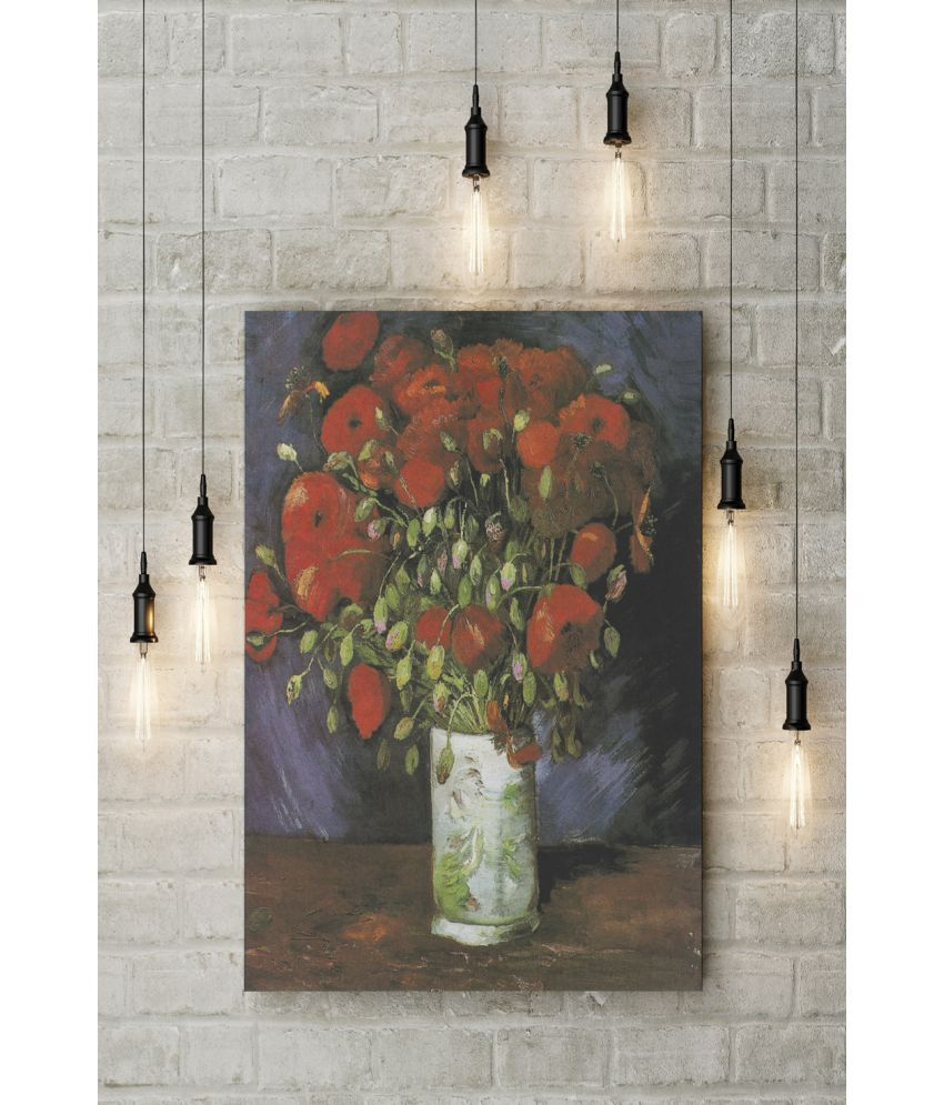 Canvs Vase with Red Poppies, 1886 Wood Art Prints With Frame Single Piece