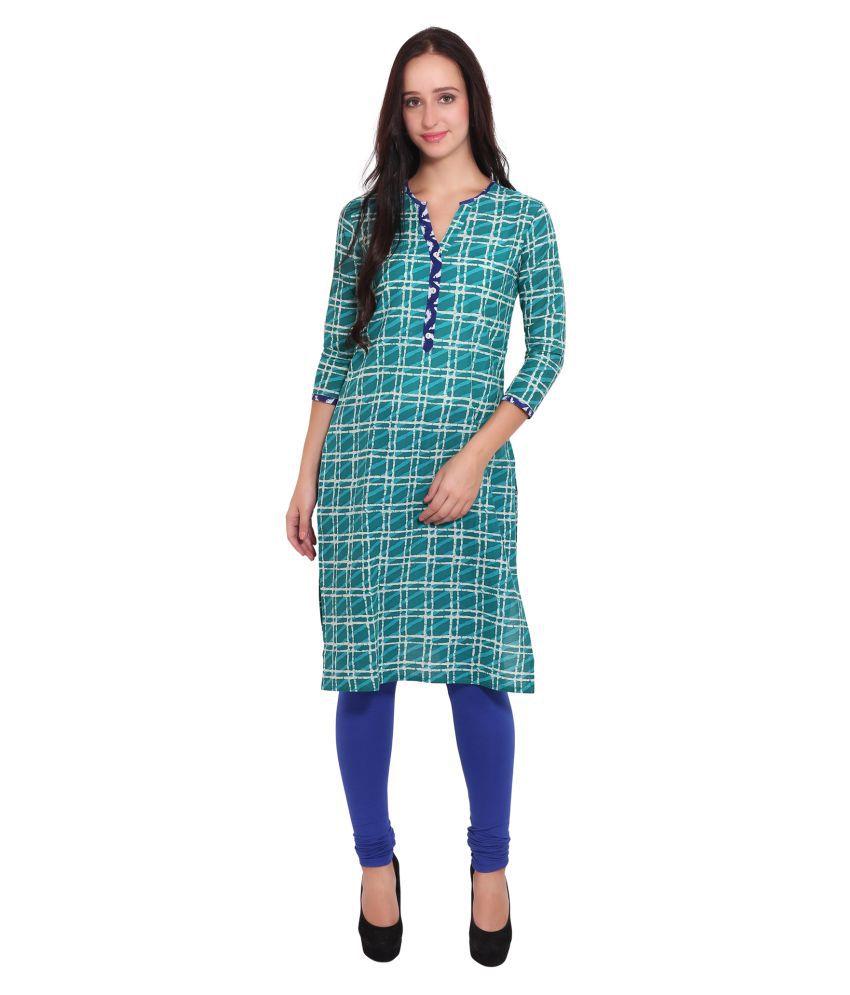 Vasudha Turquoise Cotton Straight Kurti