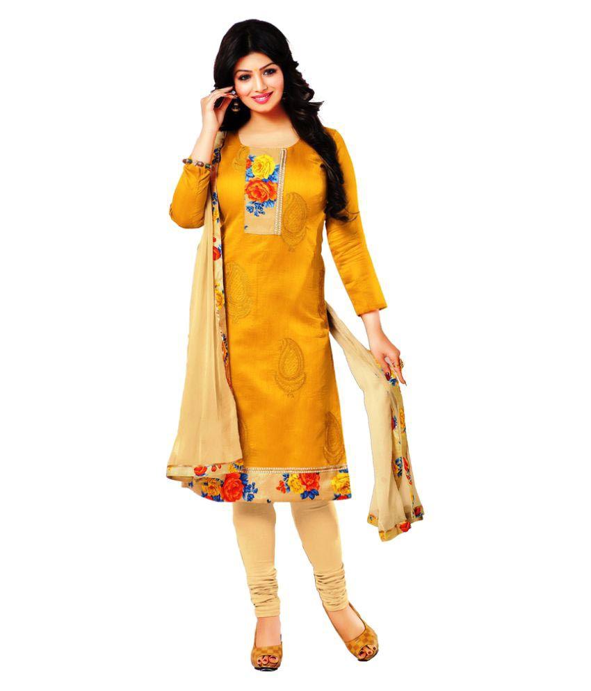 Dhanlaxmi International Yellow Chanderi Dress Material