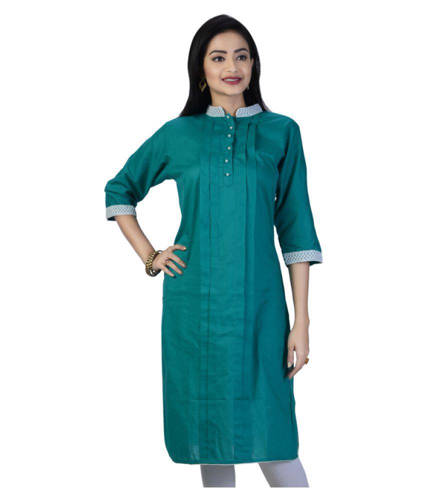 PriyaZ Green Cotton Straight Kurti