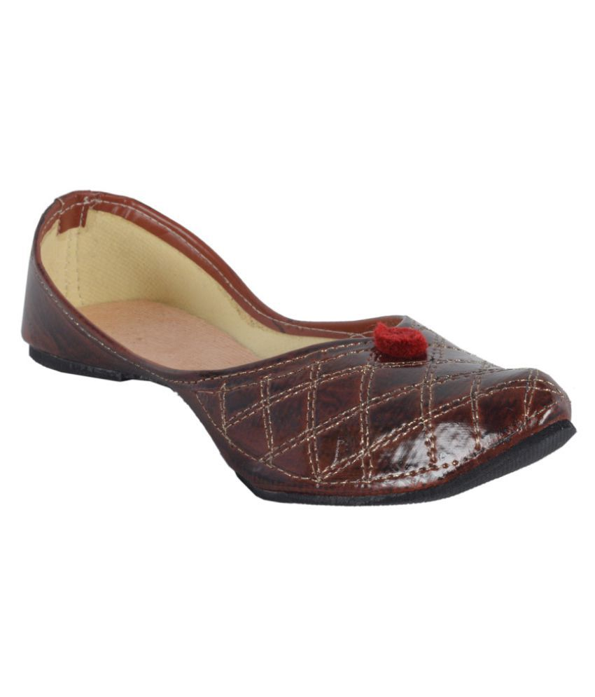 DFR Brown Flat Ethnic Footwear