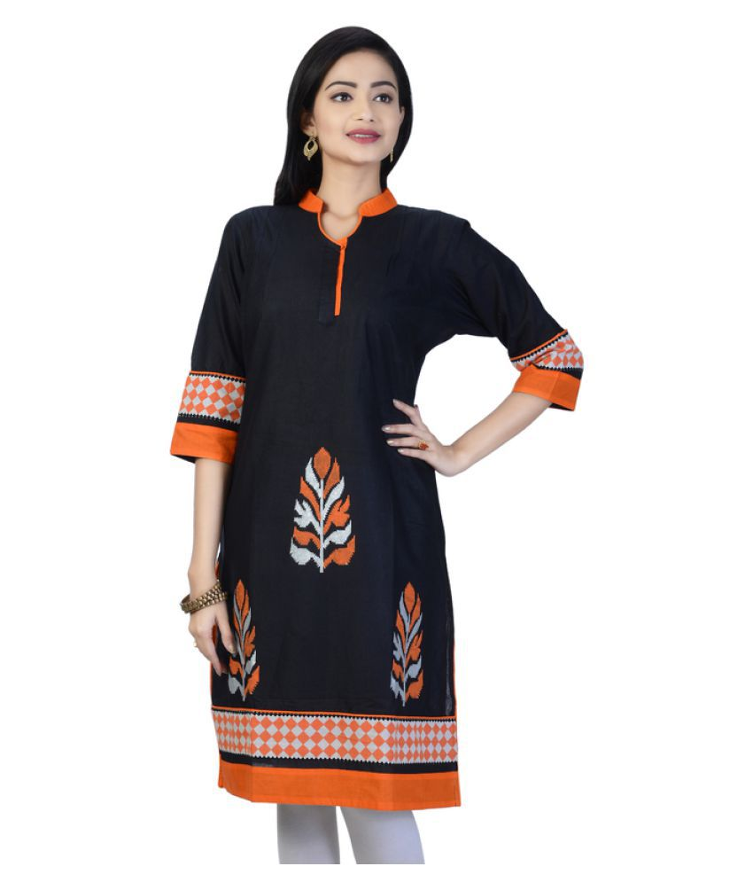 PriyaZ Black Cotton Straight Kurti