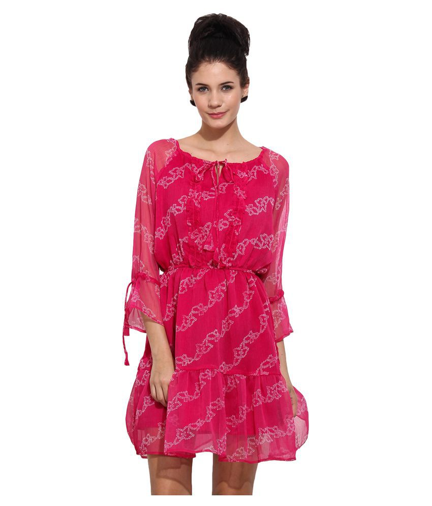 Primo Knot Pink Polyester Dresses