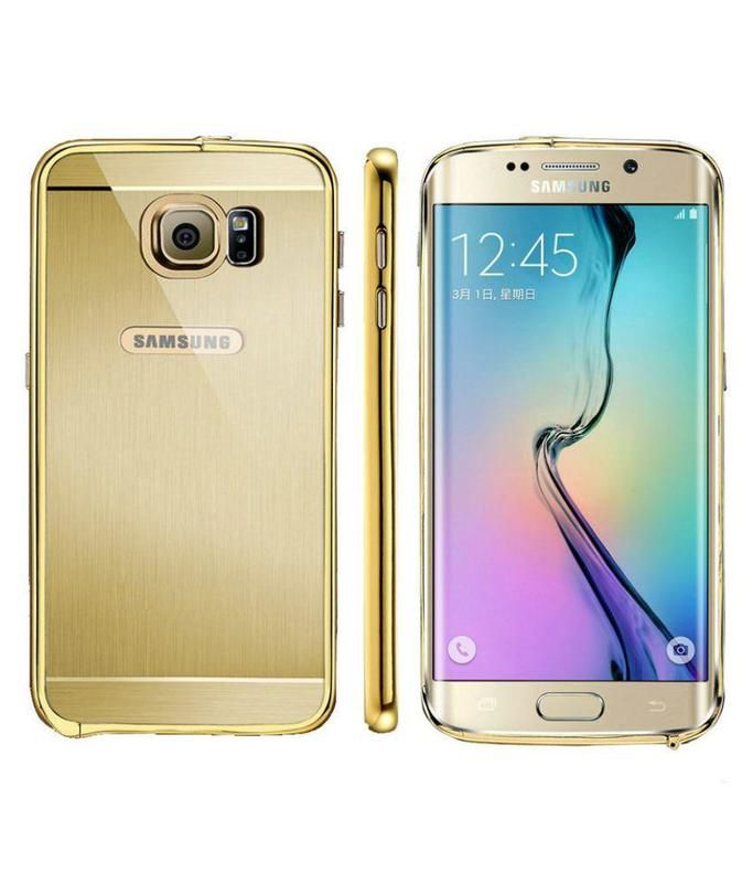 Style Crome Luxury Metal Bumper + Acrylic Mirror Back Cover Case For Samsung Galaxy S6 Edge + Mini Aux wired Selfie Stick.