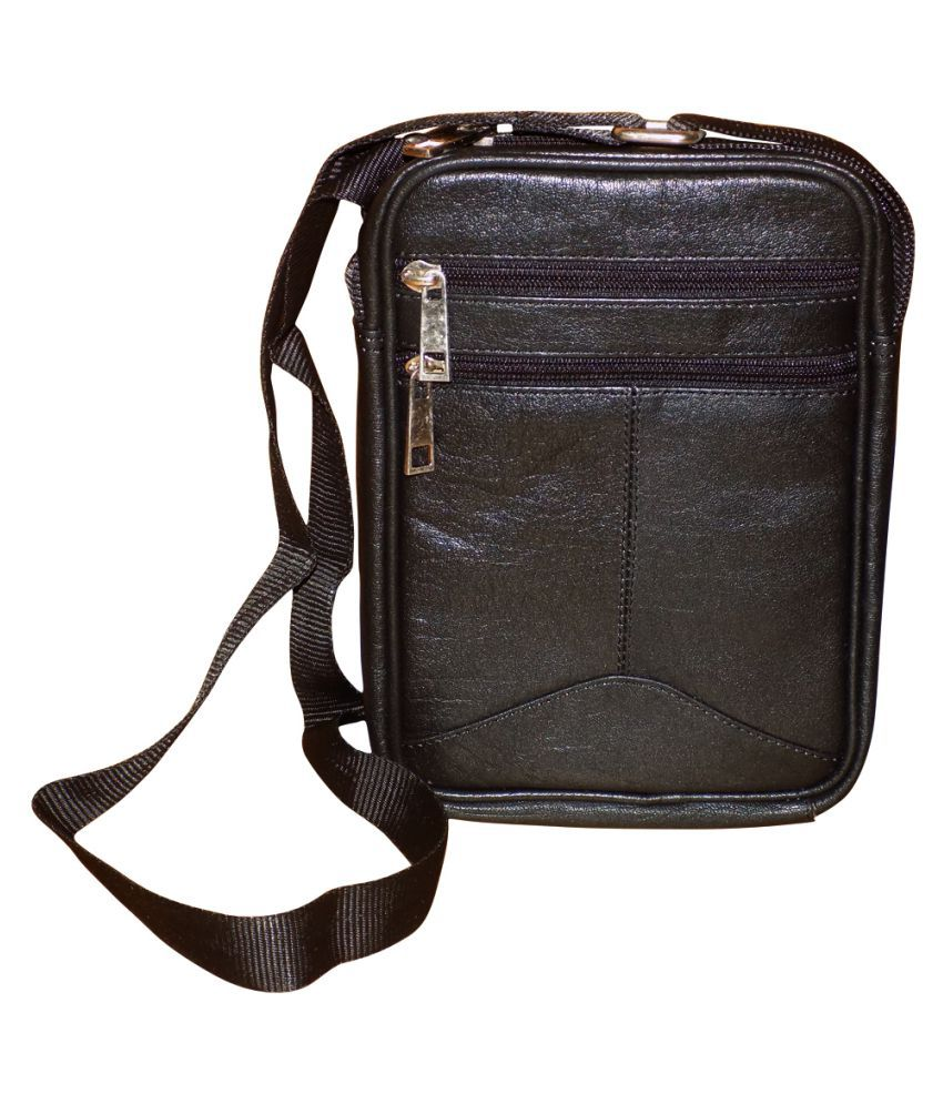Style 98 Black Leather Casual Messenger Bag