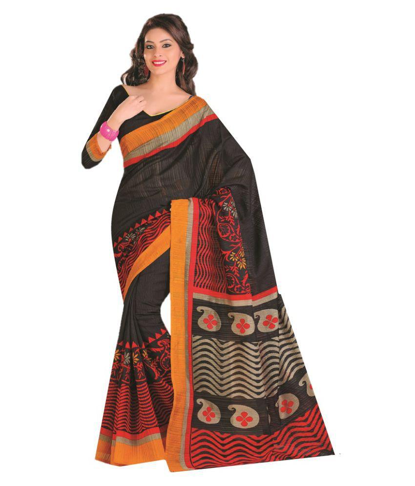 AJS Multicoloured Cotton Blend Saree