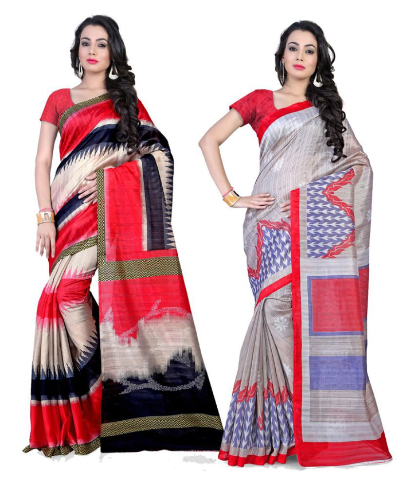 Fabdeal Multicoloured Art Silk Saree Combos