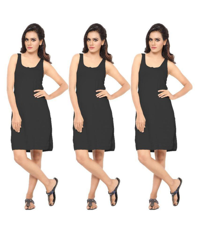 Ziya Black Cotton Lycra Camisoles