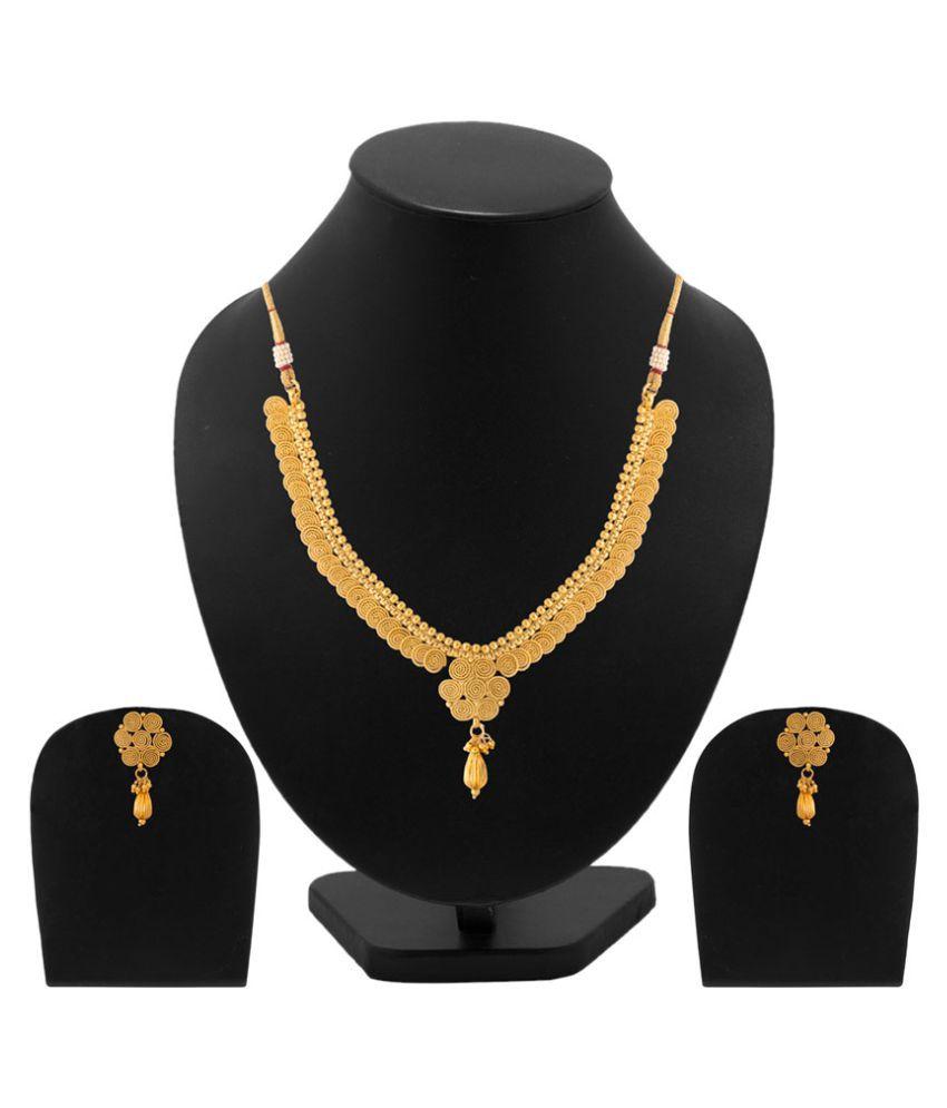Voylla Golden Necklace Set
