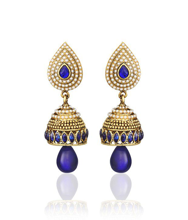 Zaveri Pearls Multicolor Antique Designer Jhumki Earrings