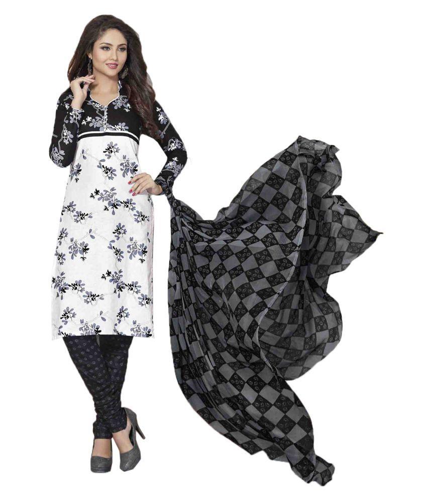 Drapes White Cotton Dress Material