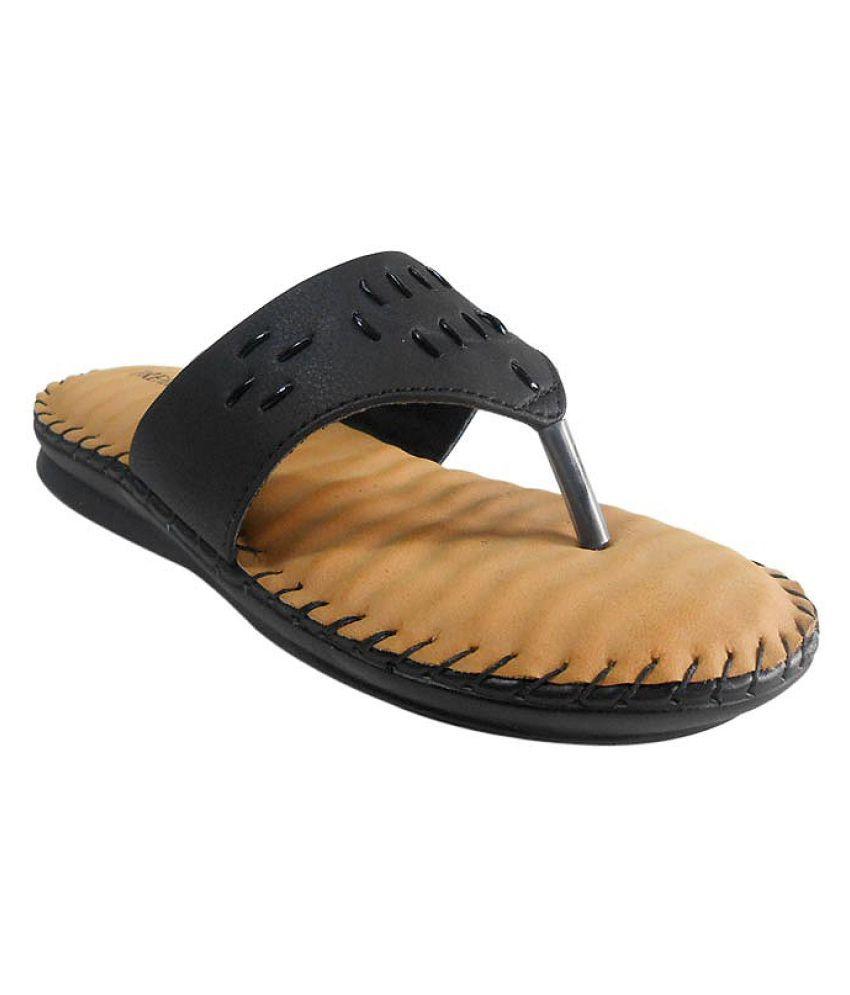 Right Steps Black Slippers