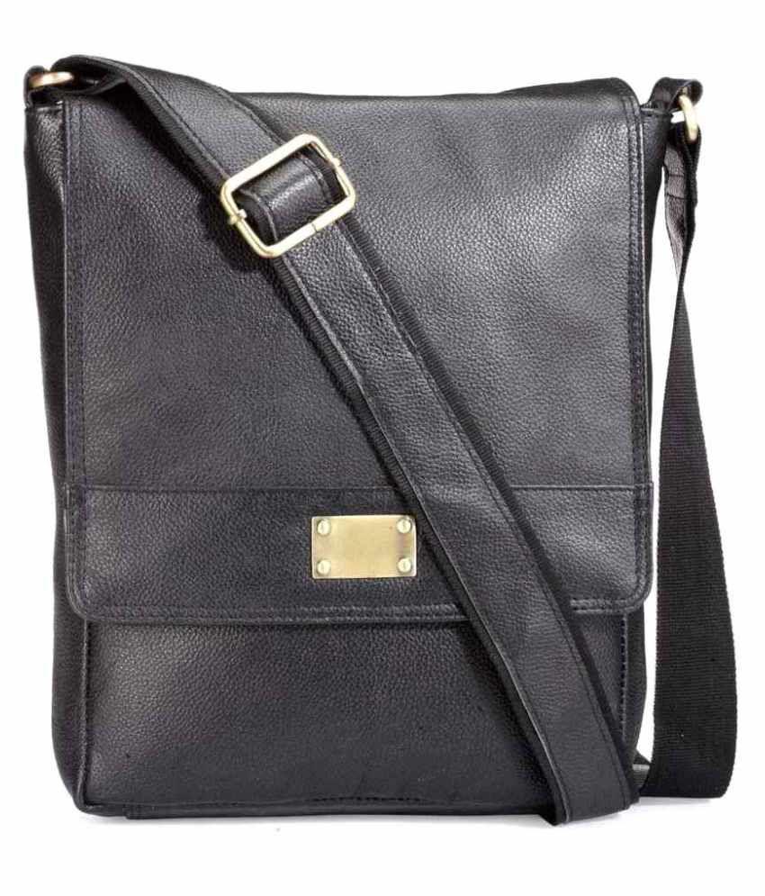 Teakwood Black Pure Leather Sling Bag