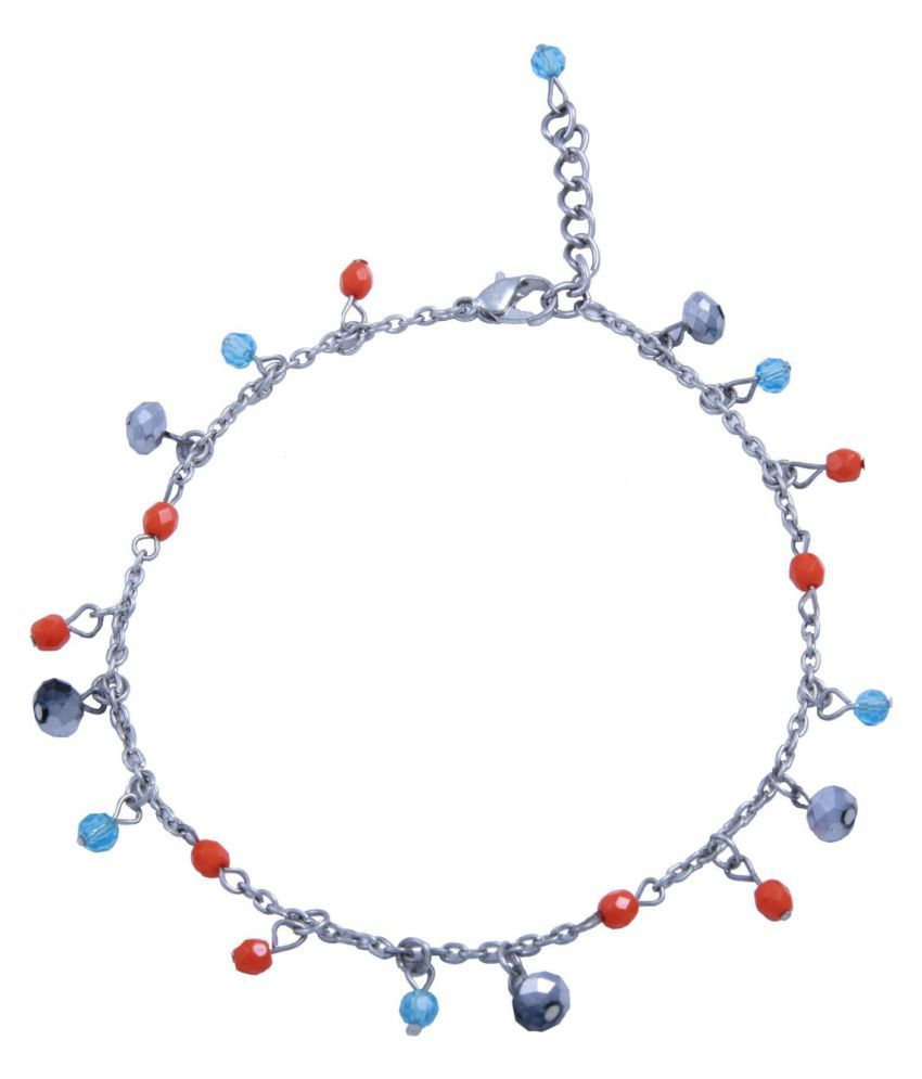 Woap Silver Polish Multicolour Glass Beads Anklet: Buy Woap